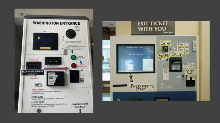 Two photos of confusing parking meters with loads of buttons and handwritten instructions