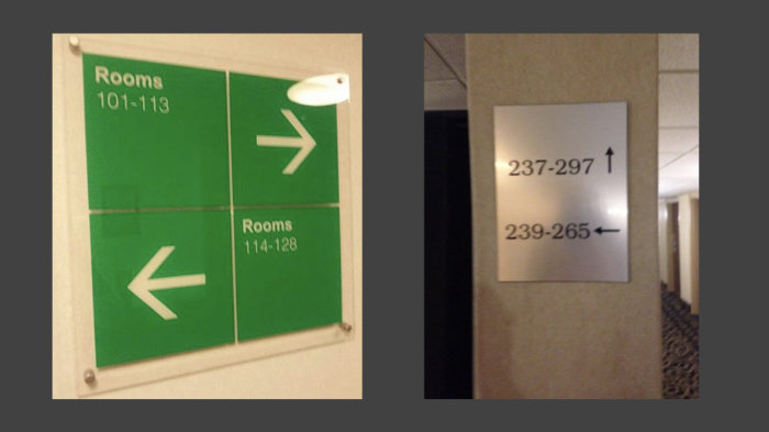 Two photos of confusing room signs where the arrows pointing to different rooms can be read in different ways