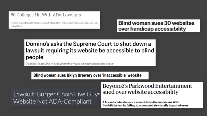 Various headlines of where companies have been sued