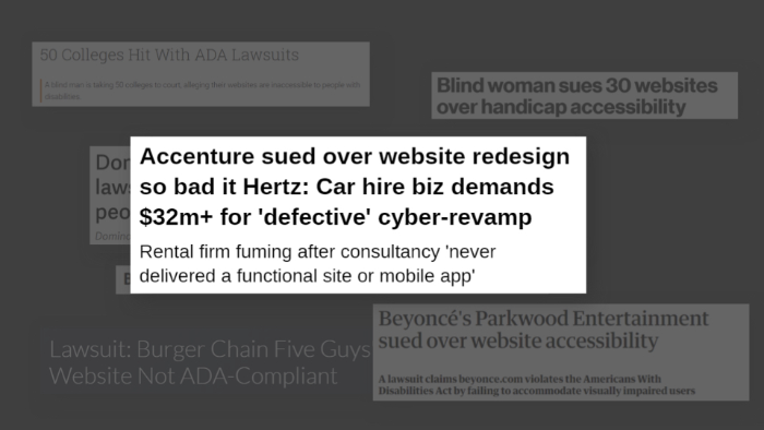Accenture headlines laid over the top of Various headlines of where companies have been sued