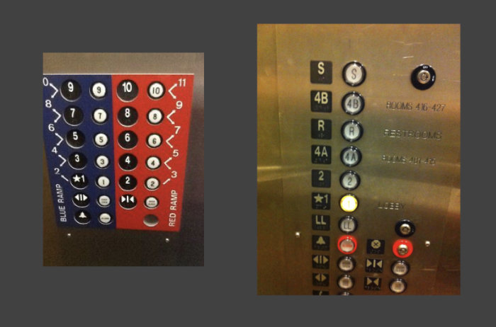 Two photos of cunfusing lift panels with loads of buttons that don't make sense